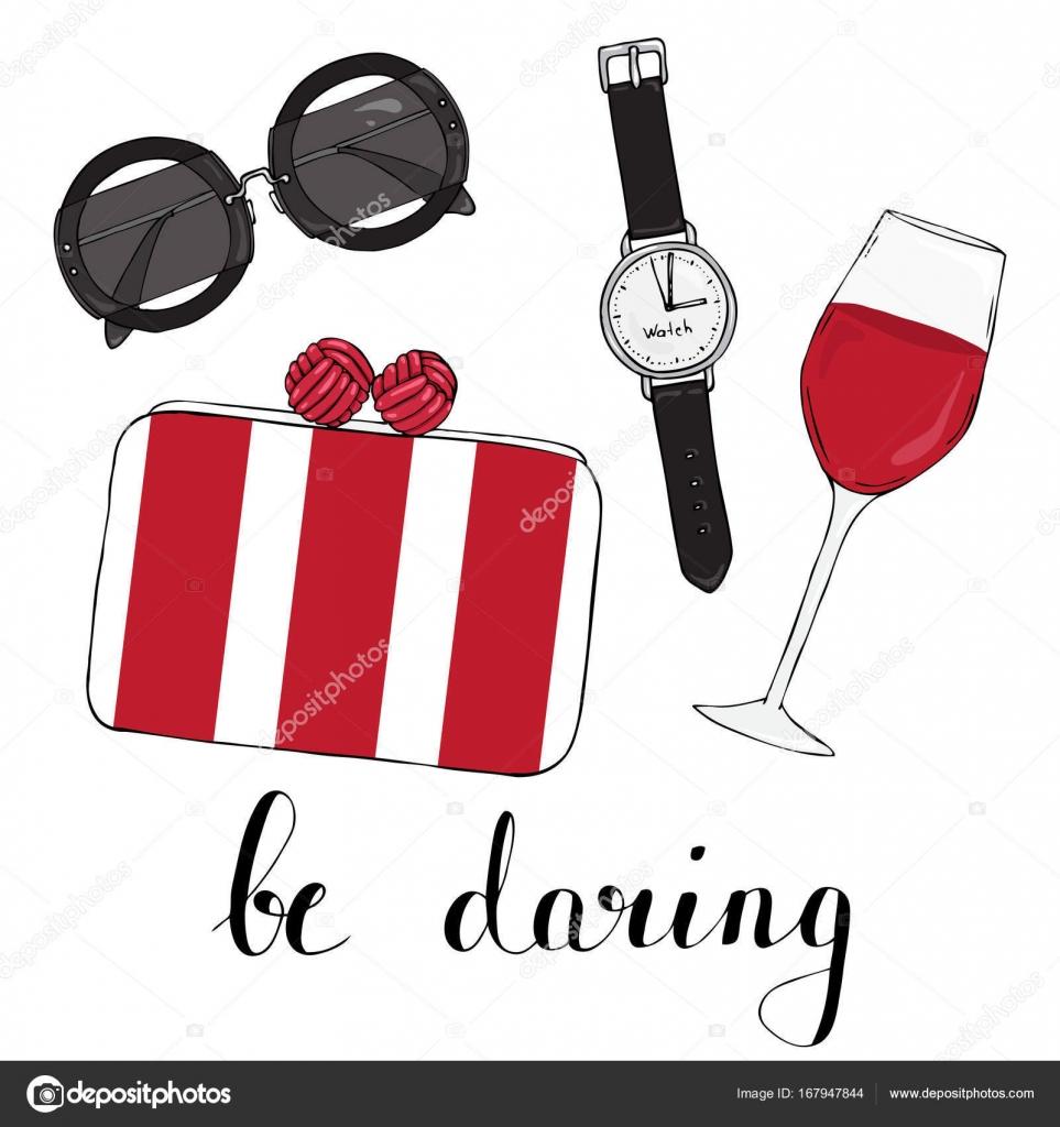 Karte Mit Damen Brillen Tasche Und Einem Glas Wein — Stockvektor