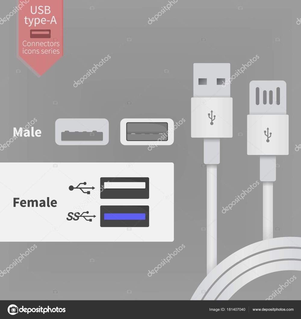 medium resolution of usb socket outlet and white connectors wires vector illustration in flat style stock vector