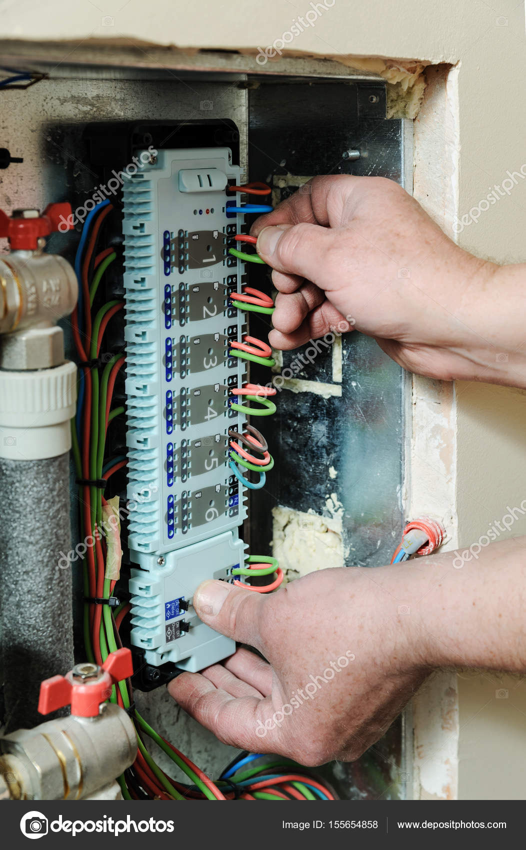 hight resolution of switching signal wires in the home s heating system control stock photo