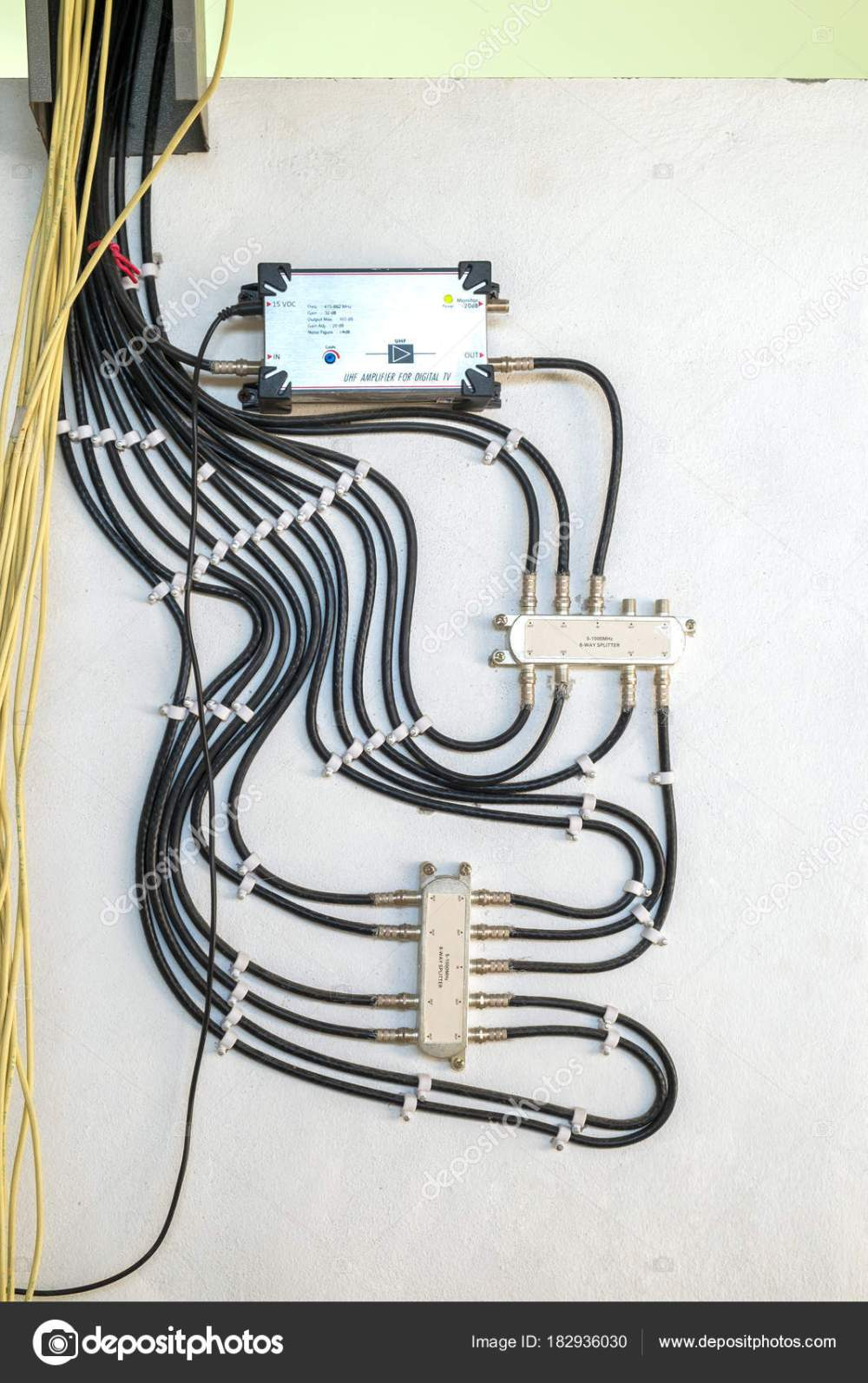 medium resolution of cable television system by wire with cable signal splitter in ap stock photo