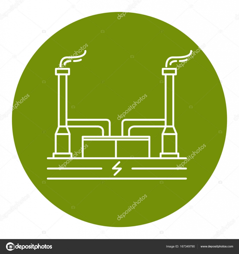 medium resolution of geothermal power plant icon in thin line style stock vector