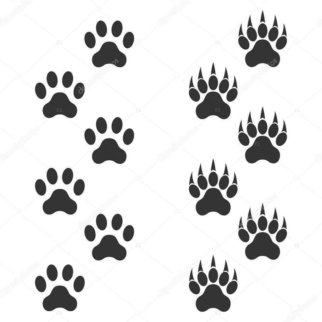 Dog Paw And Tiger Paw With Claws Trace Animal Black
