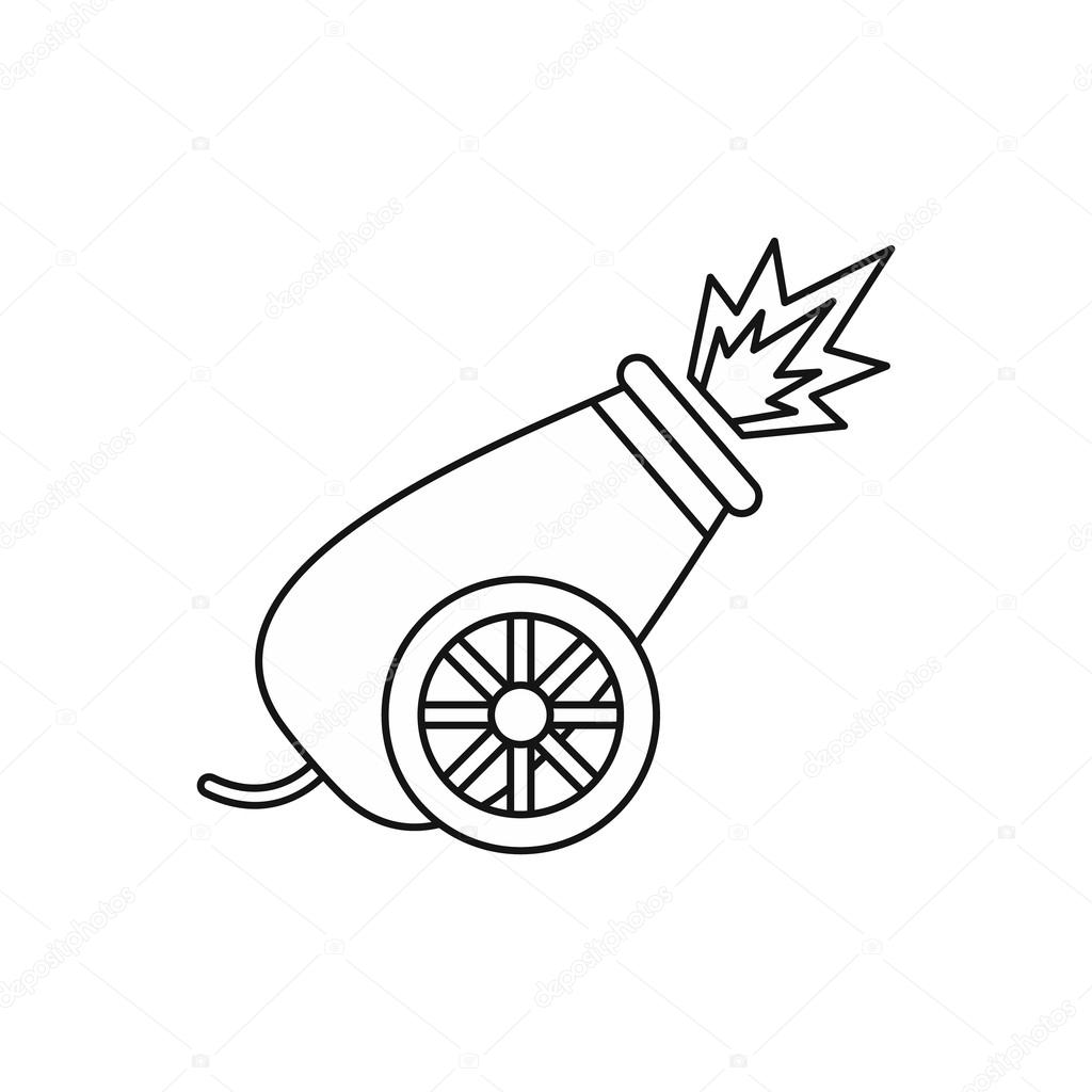 Circus Cannon Shooting Icon Outline Style