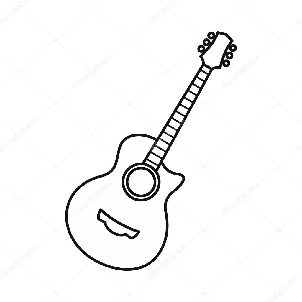 Guitar icon, outline style — Stock Vector © ylivdesign