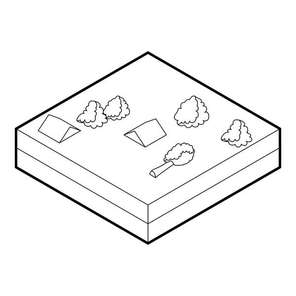 House sinking in a water icon, outline style — Stock