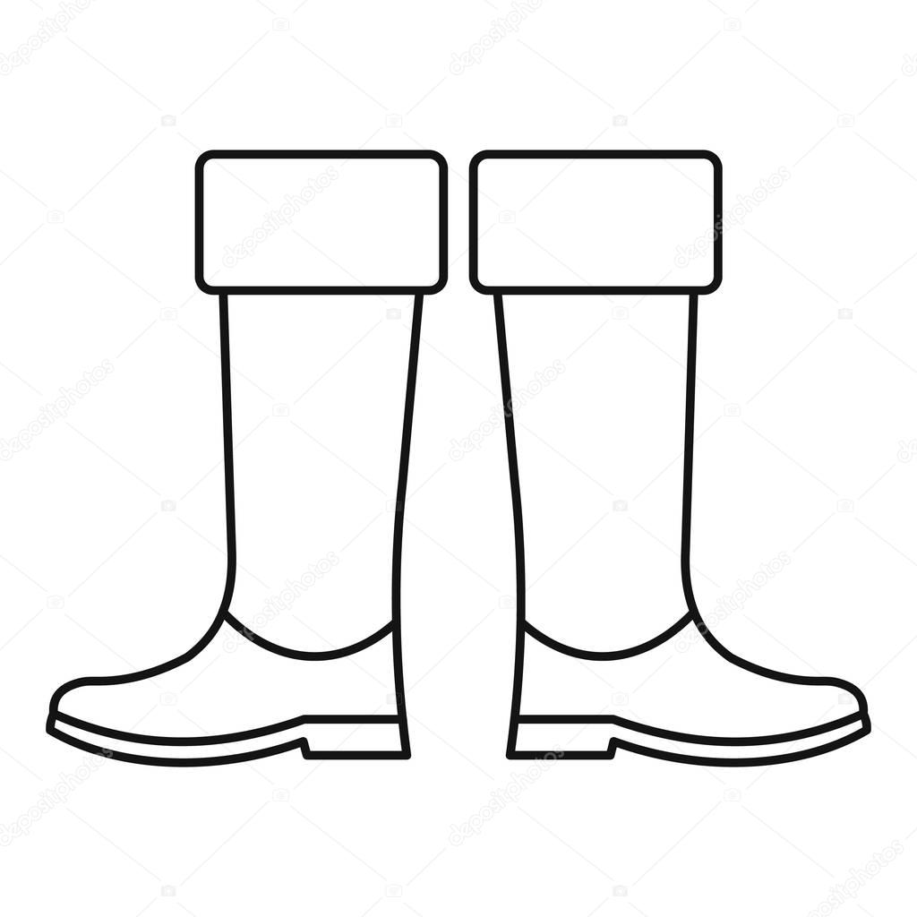 High Rubber Boots Icon Outline Style