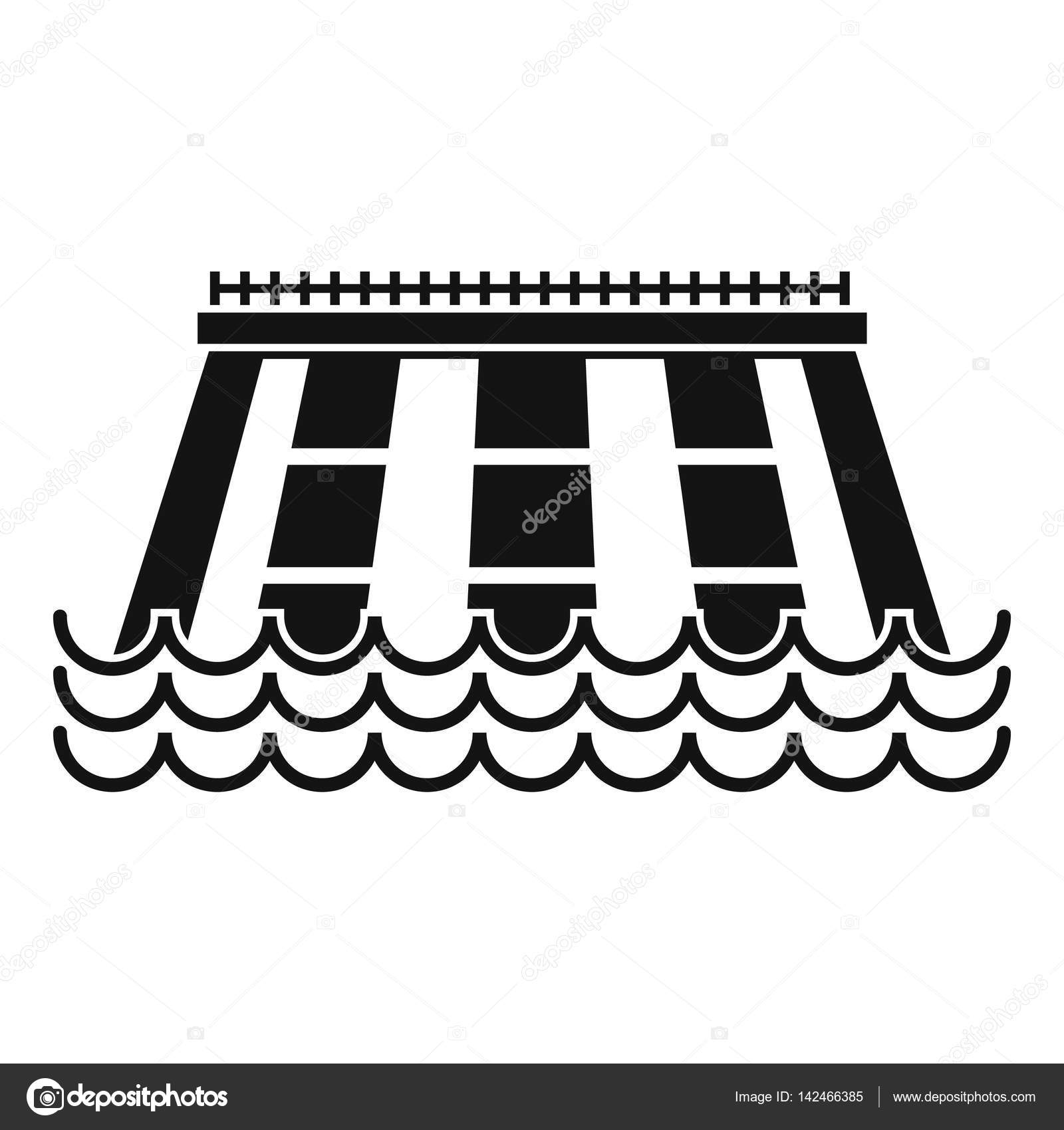 Hydroelectric power station icon, simple style — Stock