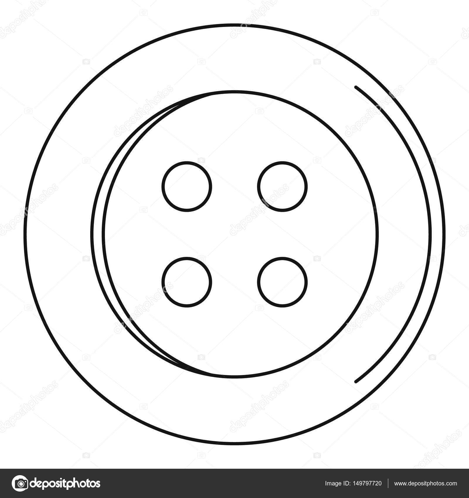 Sewing Button Icon Outline Style