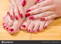 Neatly painted toenails and fingernails  Stock Photo ...