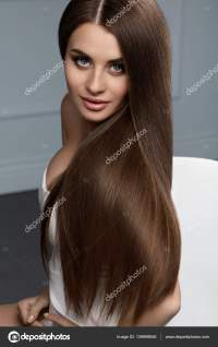 Beautiful Hair Color. Woman With Glossy Straight Brown ...