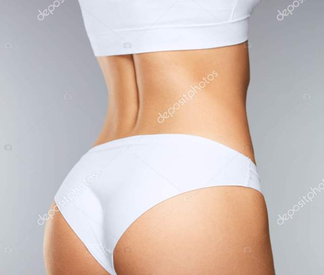 Beautiful Slim Woman Back With Tight Firm Buttocks Sexy Butt Healthy Soft Skin In White Bikini Panties Closeup Girl With Perfect Body Shape In Underwear