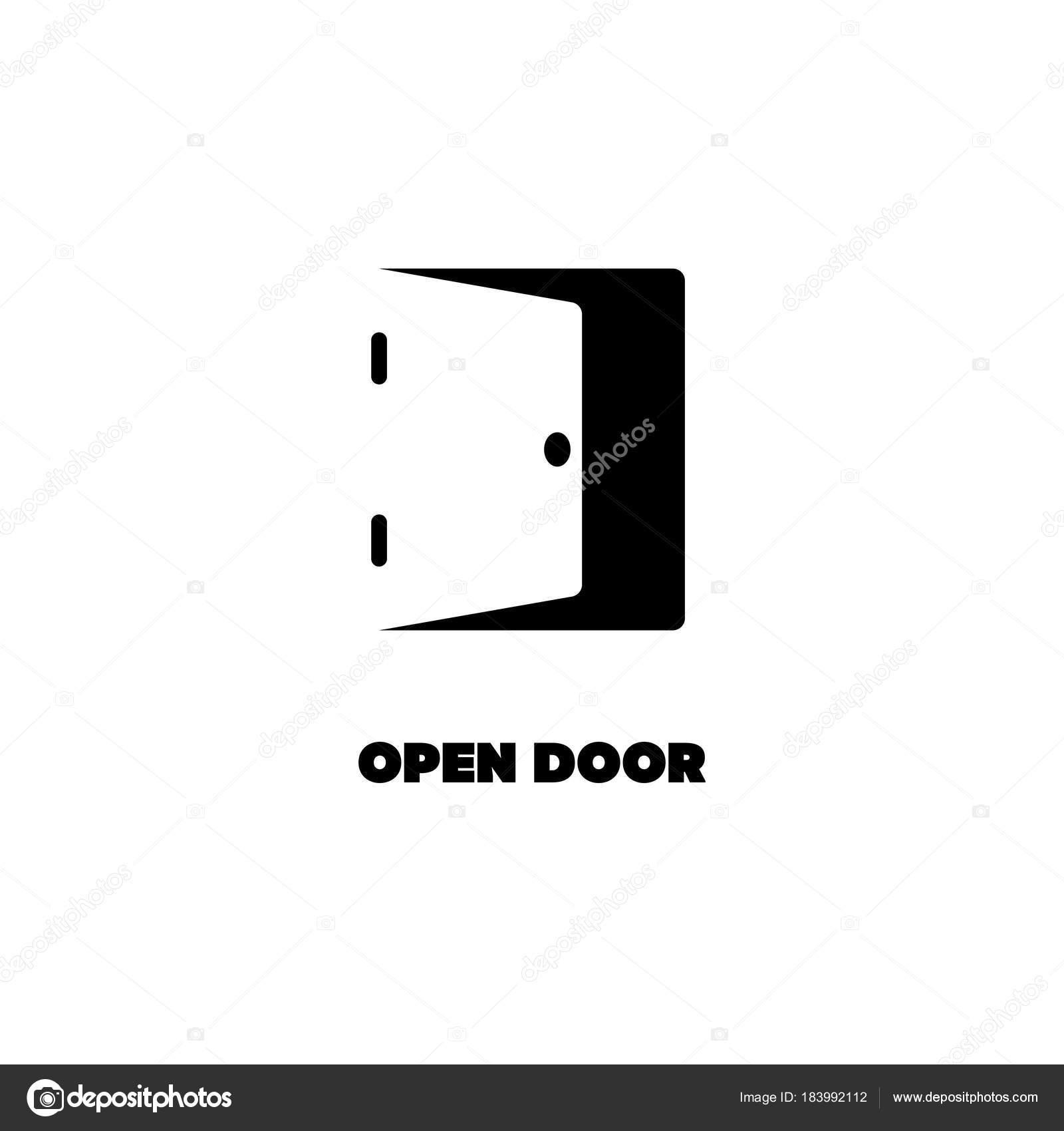 Negative space logo of open door. Black silhouette