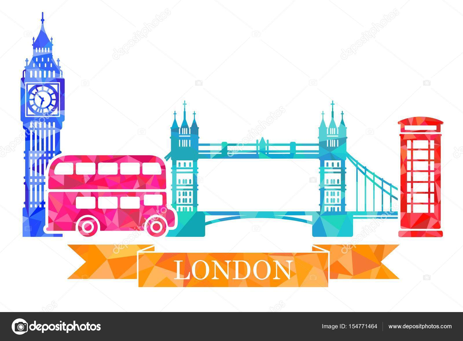 hight resolution of big ben tower bridge double decker red telephone box traditional symbols of london in polygonal style vector by klava