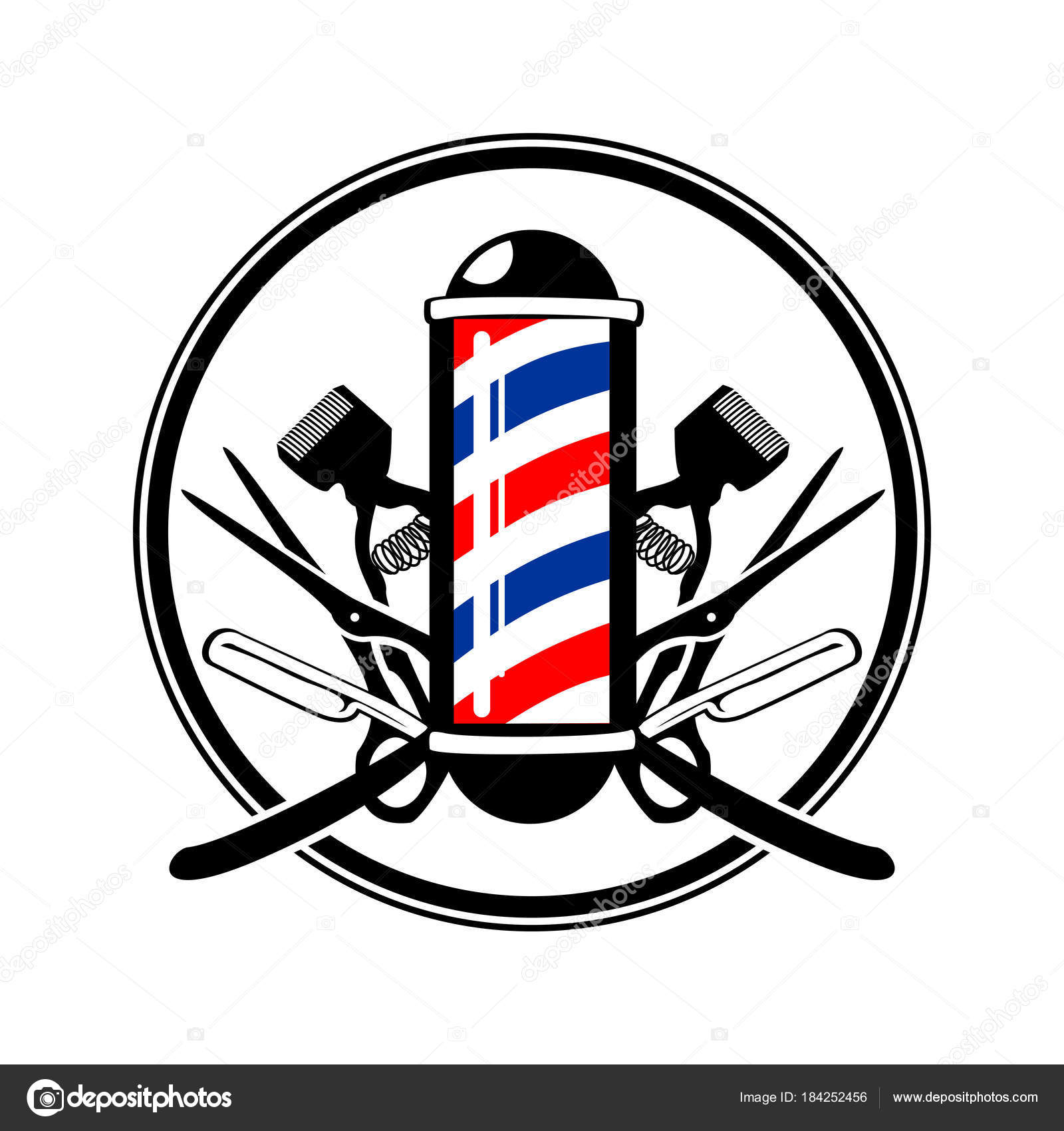 Circular Emblem Barbers Pole With Scissor Razor And Old