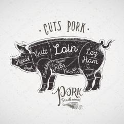 Pork Butcher Cuts Diagram Dual Element Hot Water System Wiring Pig Silhouette Icon With Chart Meat Medium Resolution Of Cutting Stock Vector