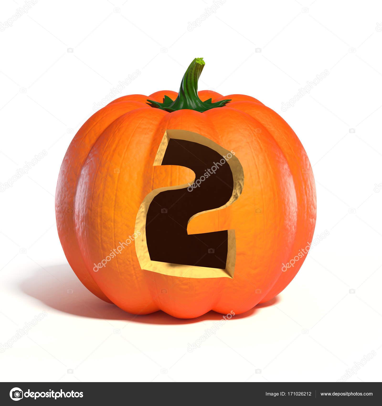 Halloween Pumpkin Font Number 2 3d Rendering