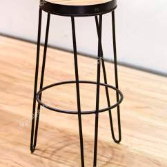 High Chair Restaurant Rose Gold Covers Wedding Fashionable Wooden For Bar Wood And Forged Black Metal Frame Stock