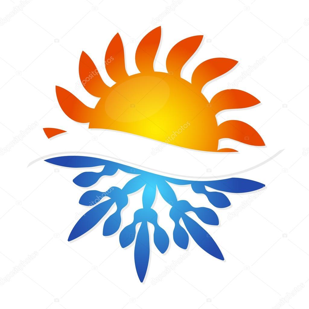 Zon En Sneeuwvlok Symbool Airconditioning