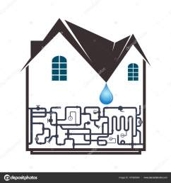 plumbing and piping in the house stock vector [ 1600 x 1700 Pixel ]