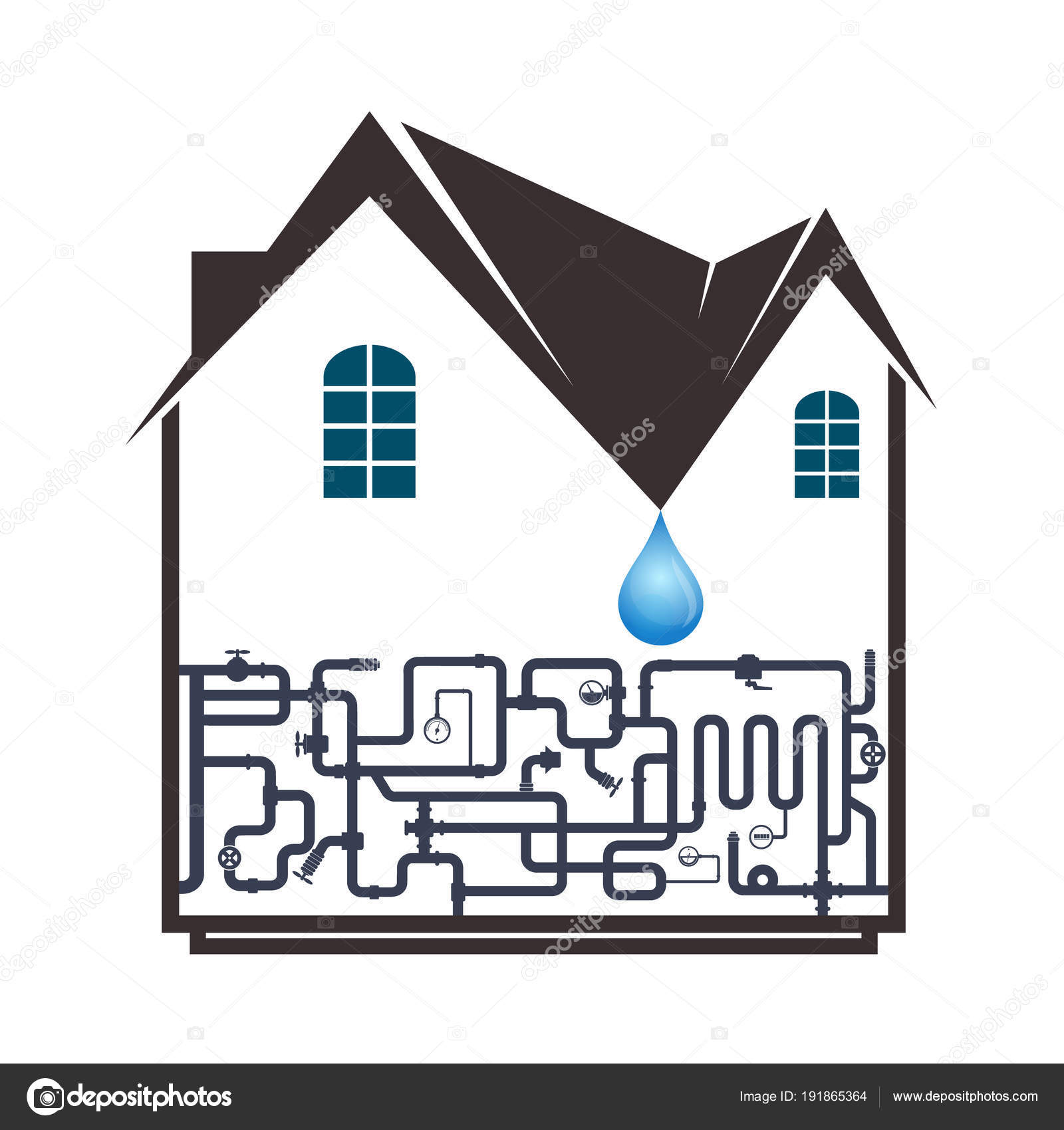 hight resolution of plumbing and piping in the house stock vector