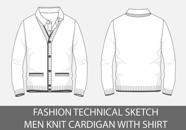 Fashion Technical Sketch Men Knit Cardigan Vector Graphic