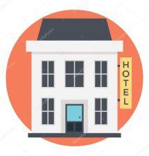 Small Building Hotel Icon Flat Vector Design Stock