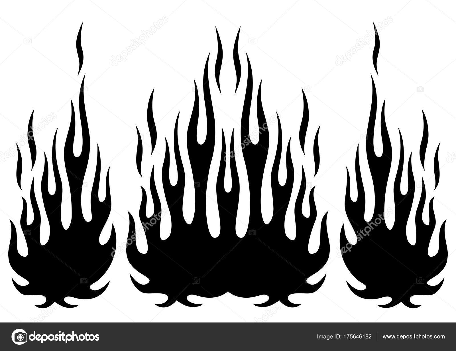 Tribal Hotrod Muscle Car Silhouette Flame Kit Vector