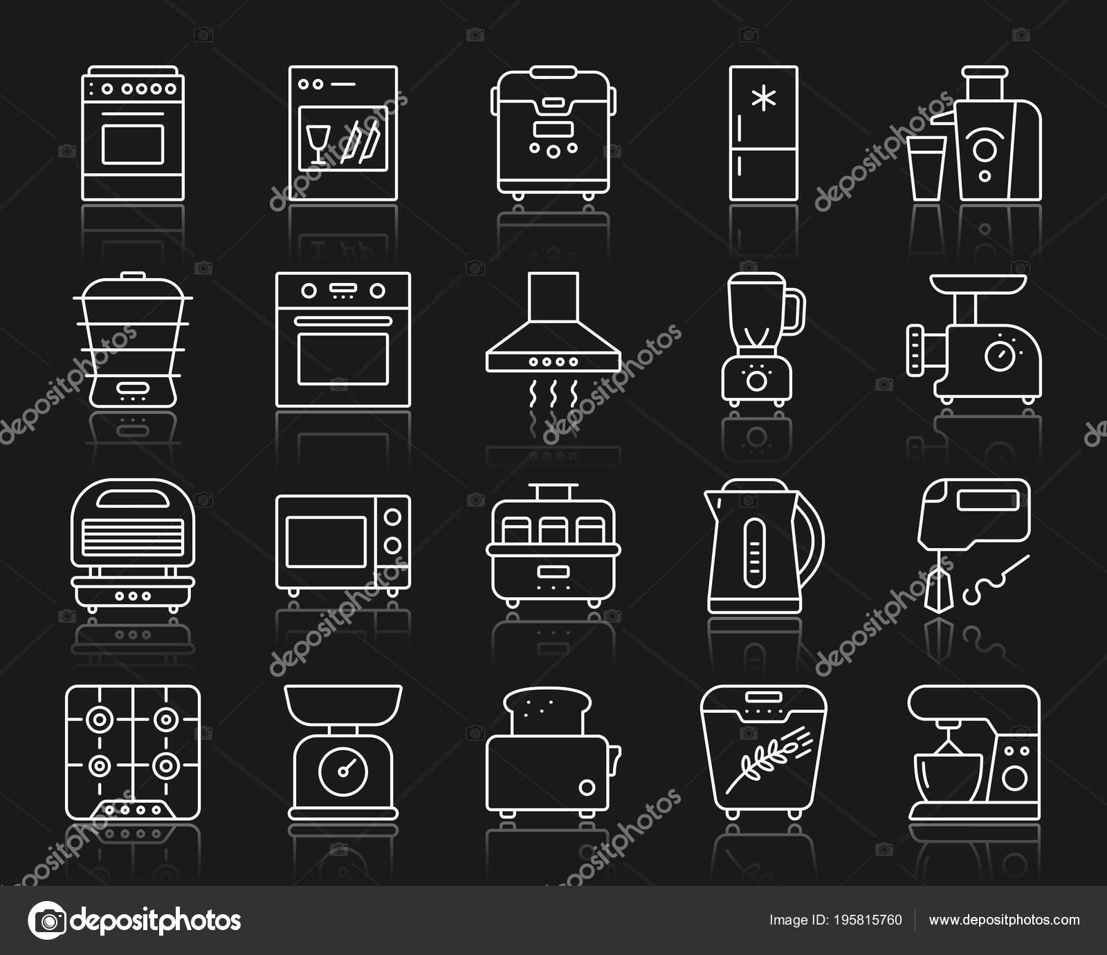 kitchen appliance suite backyard 厨房用具薄线图标设置概述了设备矢量图的web 符号套件厨房用具线性图标 符号套件厨房