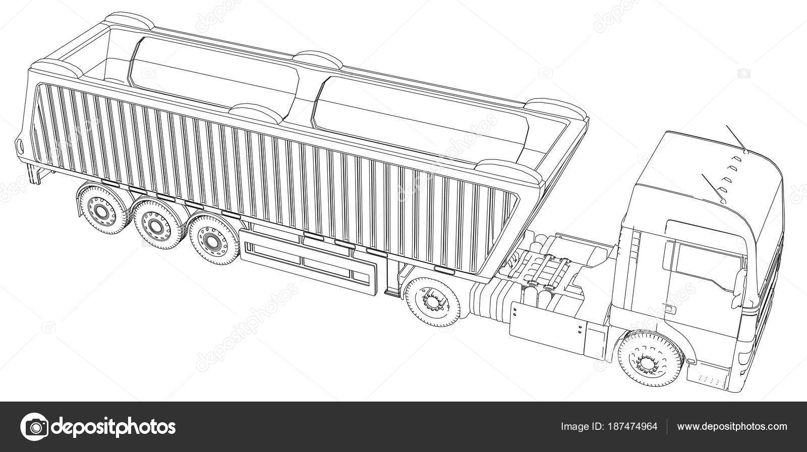 Images Tractor Trailer Sketch