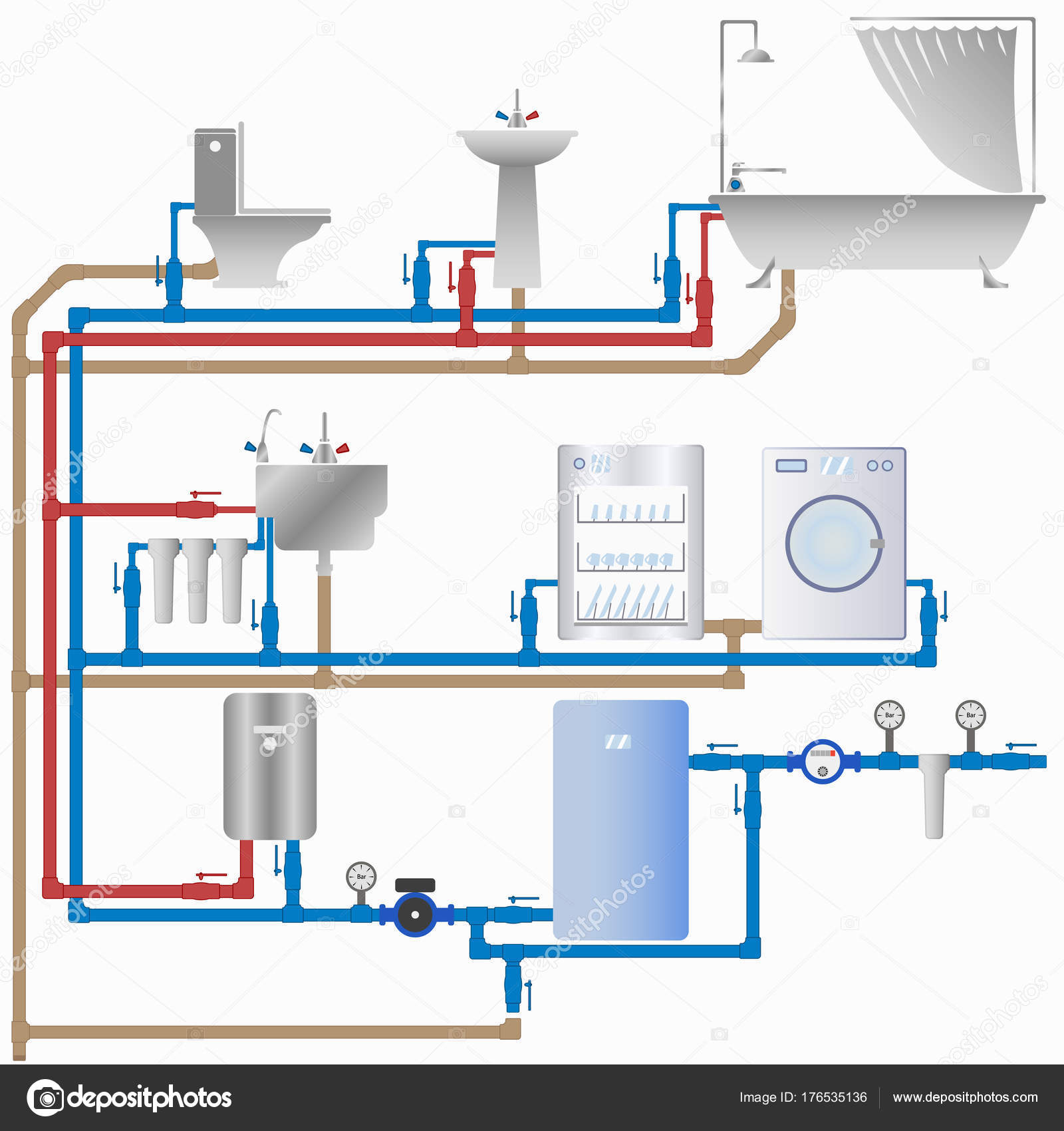 hight resolution of water supply and sewerage system in the house stock vector