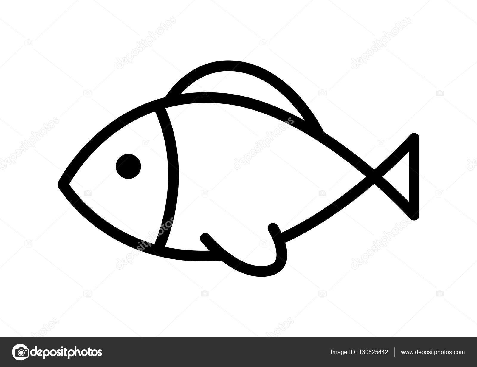 Icone De Peixe Preto Sobre Fundo Branco