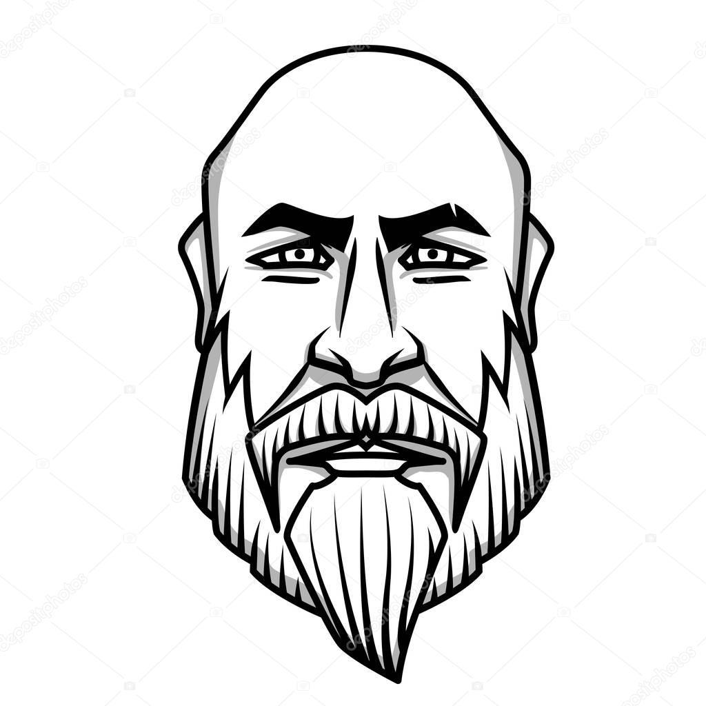 Severa Mirada Hombre Calvo Con Bigote Y Barba