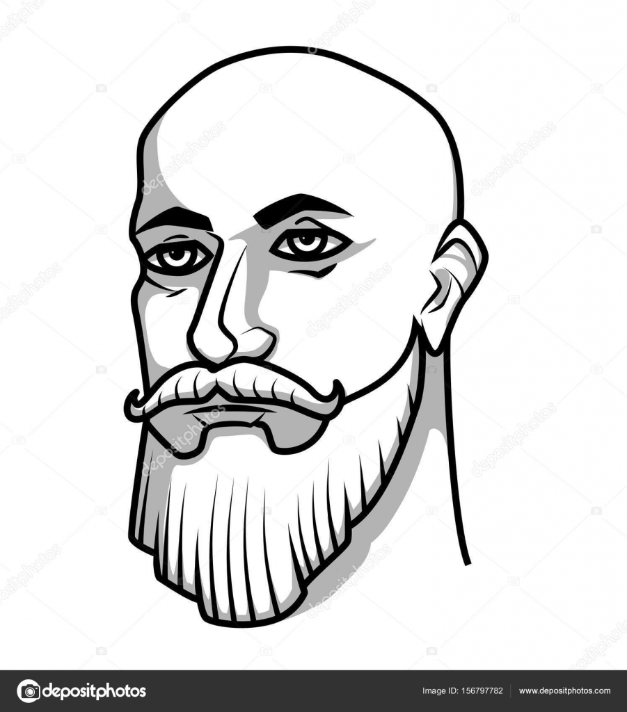 bald man with mustache