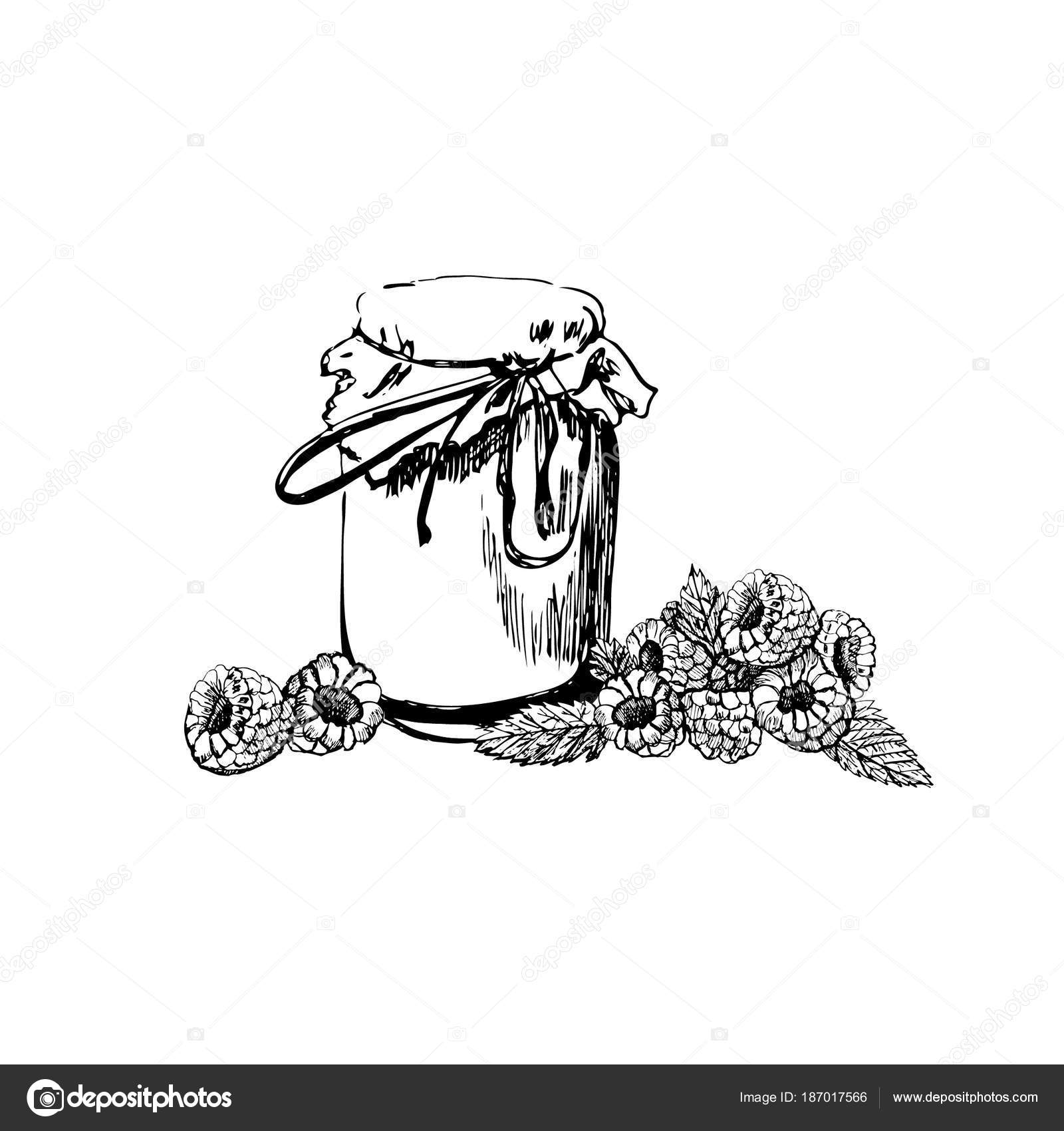 Hand Drawn Graphic Sketch With Jam Jar And Raspberries