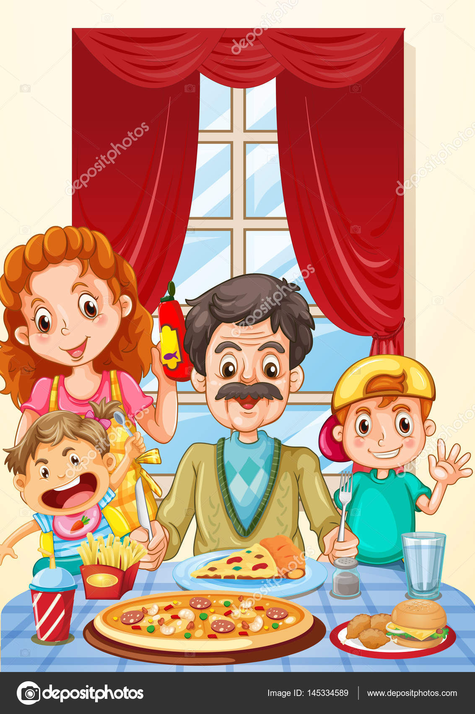 Familia que tiene pizza en mesa de comedor  Vector de