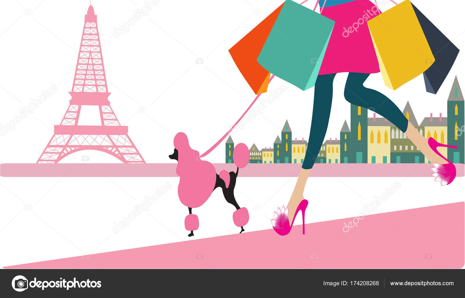Shoppen In Parijs Meisje Gaan Shoppen In Parijs Stockfoto Createsima 174208268