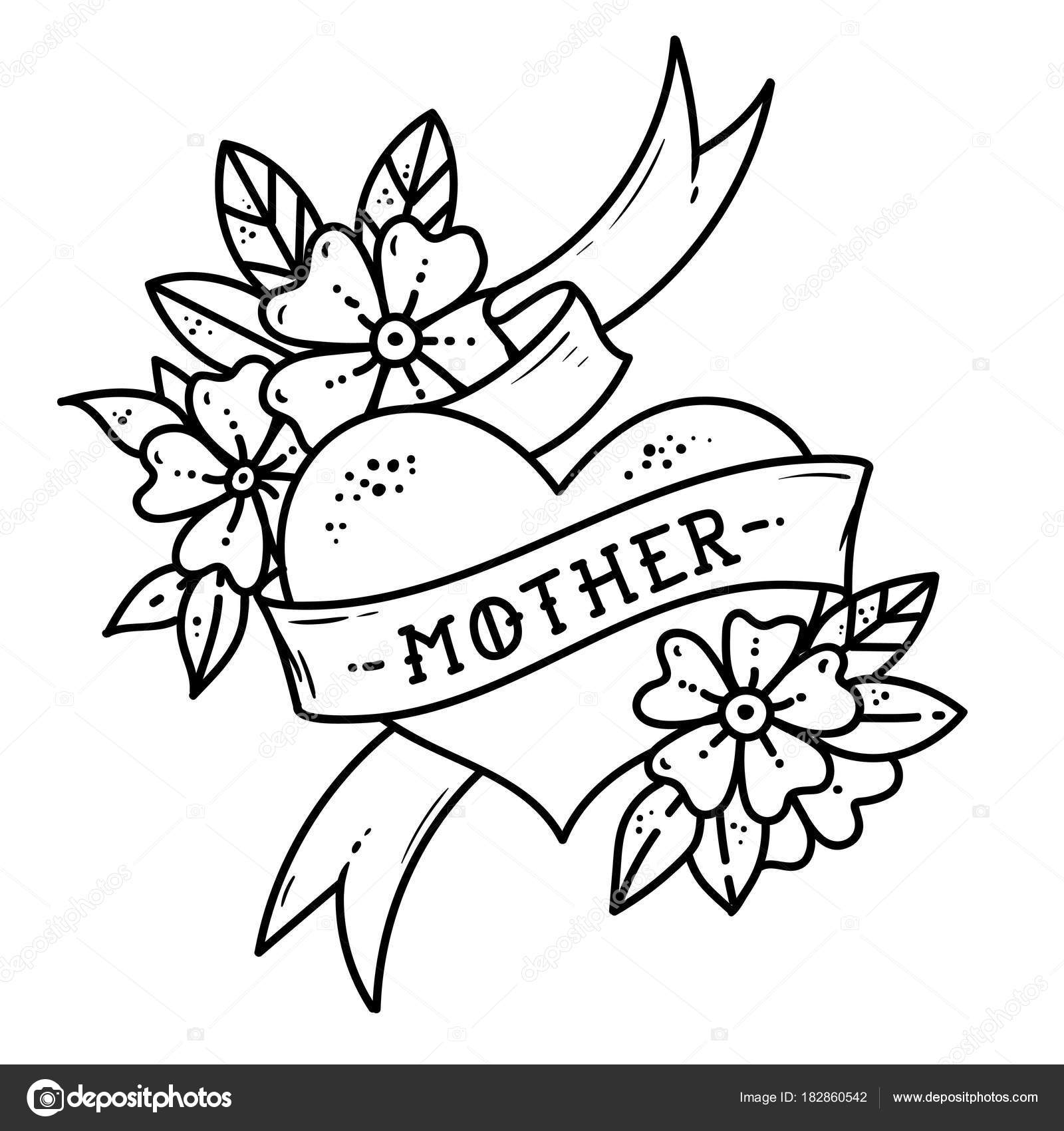 Tattoo heart with ribbon, flowers and lettering mother