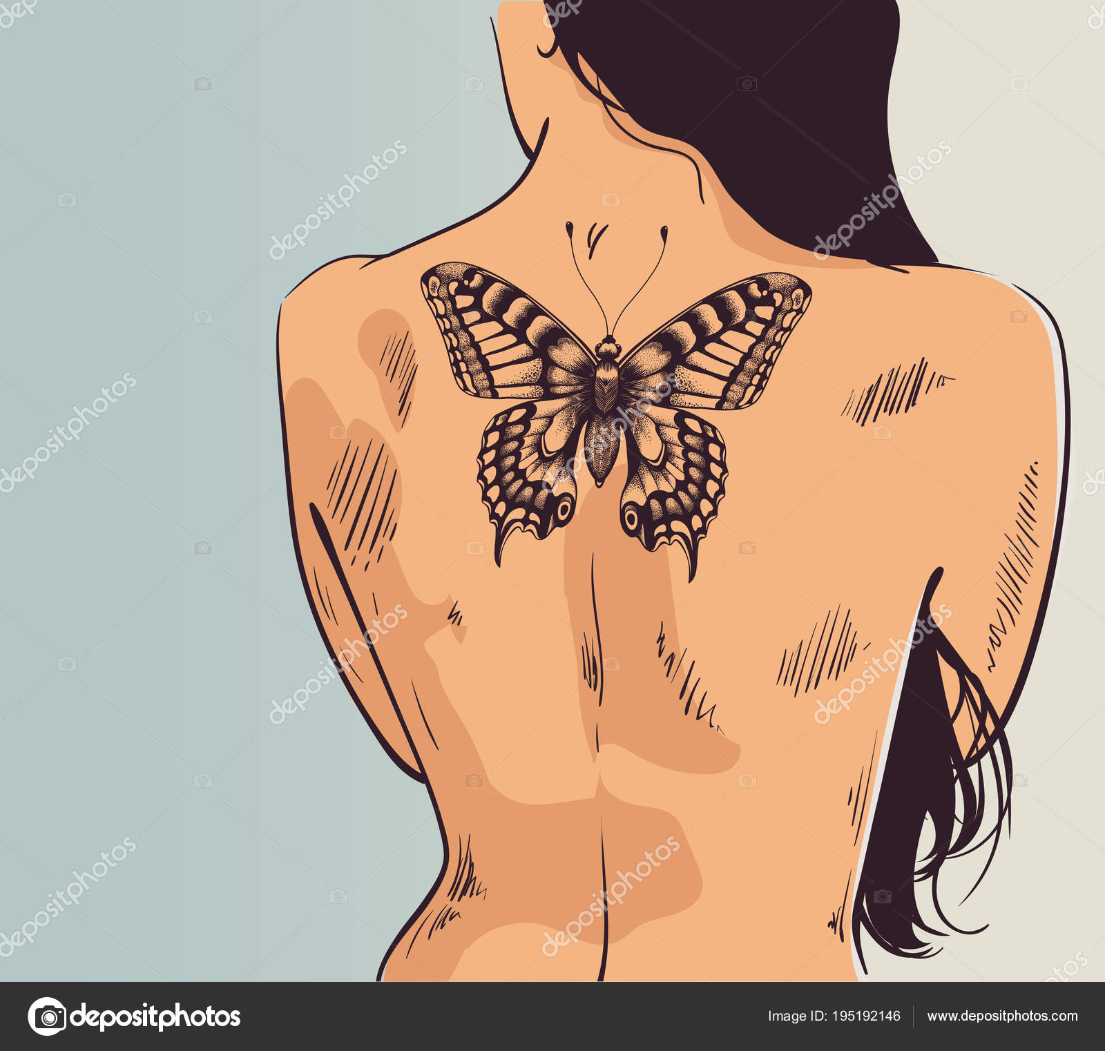 Chica Con Tatuaje Mujer De Vuelta Con La Espalda Tatuaje De