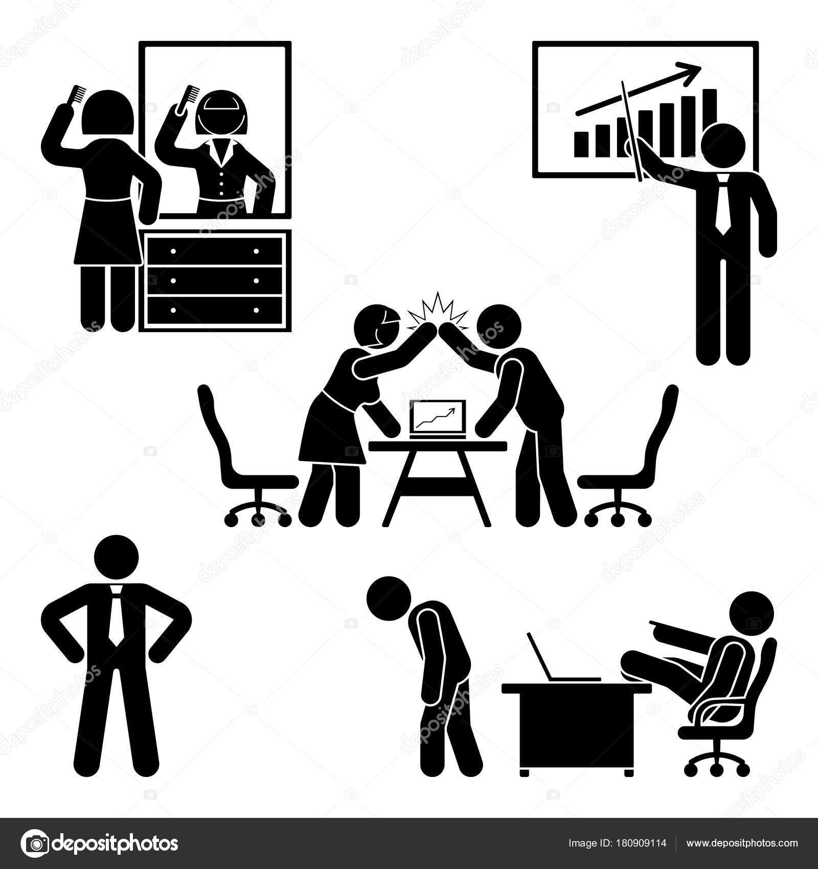 Stick Figure Office Poses Set Business Finance Workplace