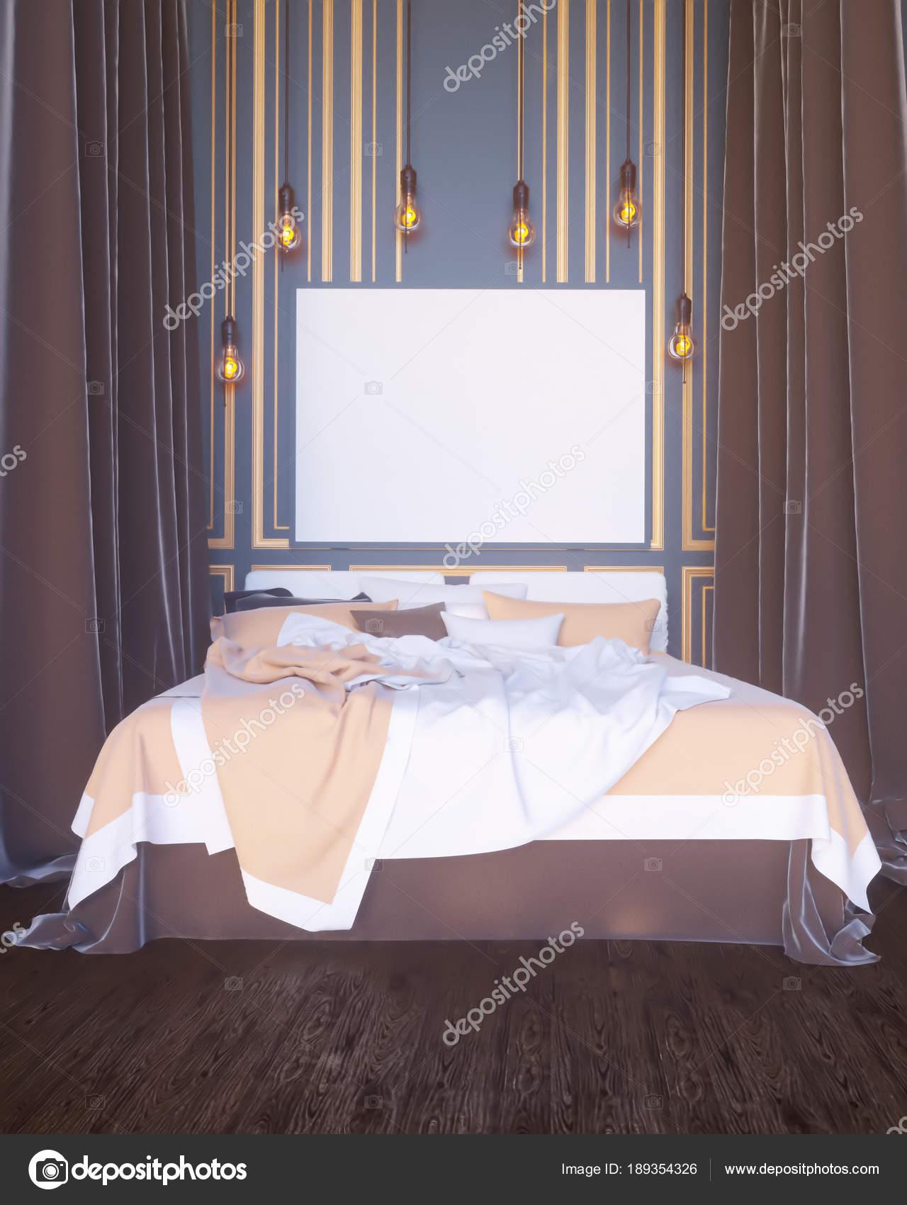 Poster boven bed in de slaapkamer interieur achtergrond