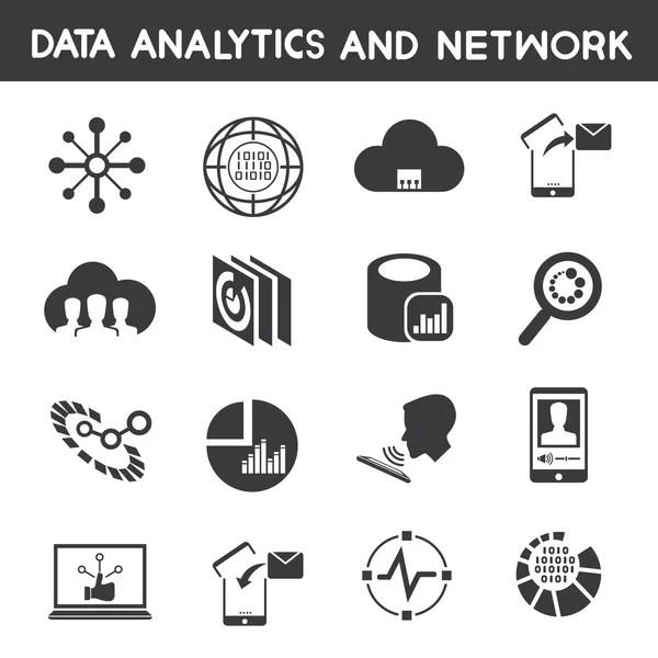 Big-Data-Symbole, Daten-Management-Symbole — Stockvektor