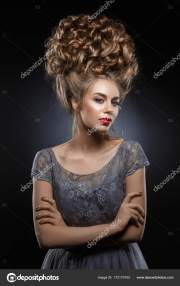 woman with high baroque hairstyle