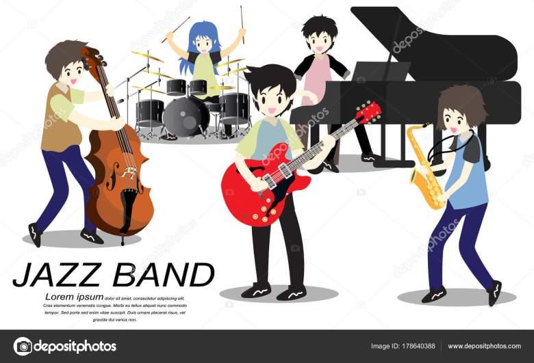 musiker jazz band spielen gitarre bassist klavier saxophon jazz band