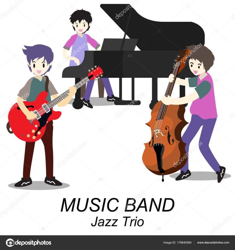 musiker jazz trio spielen gitarre bassist klavier jazz band vektor