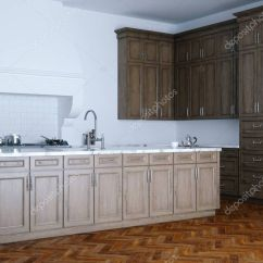 Kitchen Aid Corner Unit Table 经典的木制厨房援助和白色内饰木公园 图库照片 C Viz Arch 130274868