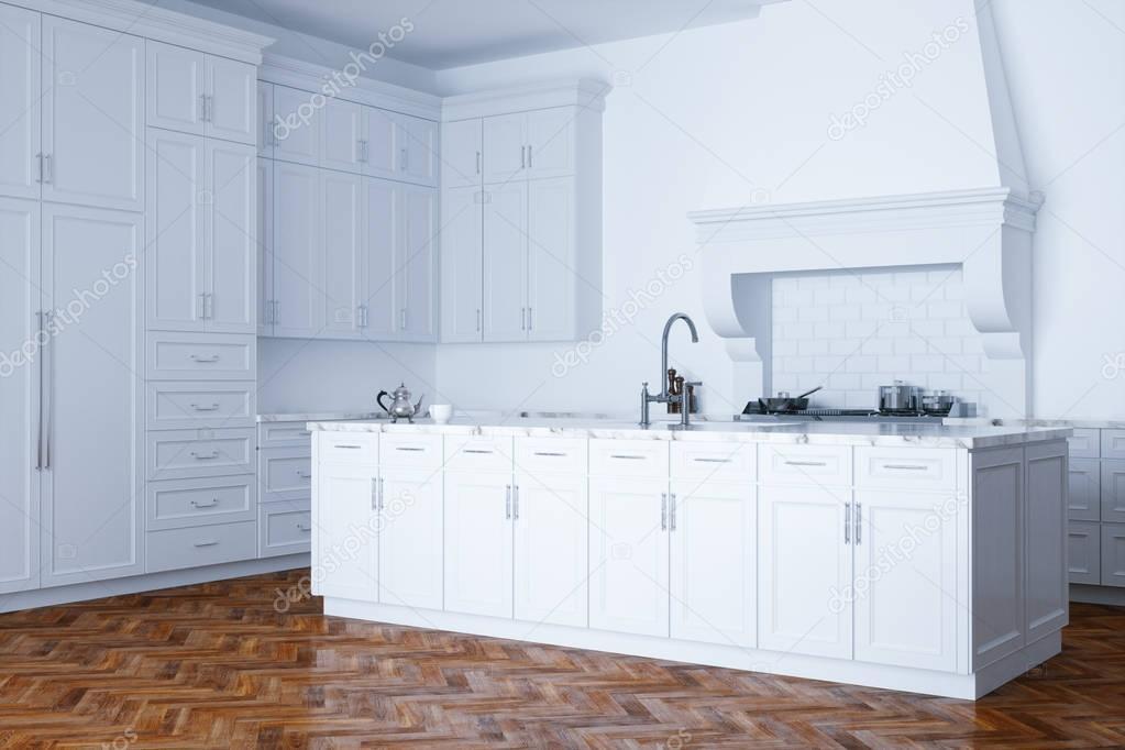 kitchen aid classic plus cost of outdoor 经典的白色厨房援助和白色内饰木实木复合地板 图库照片 c viz arch 130274874