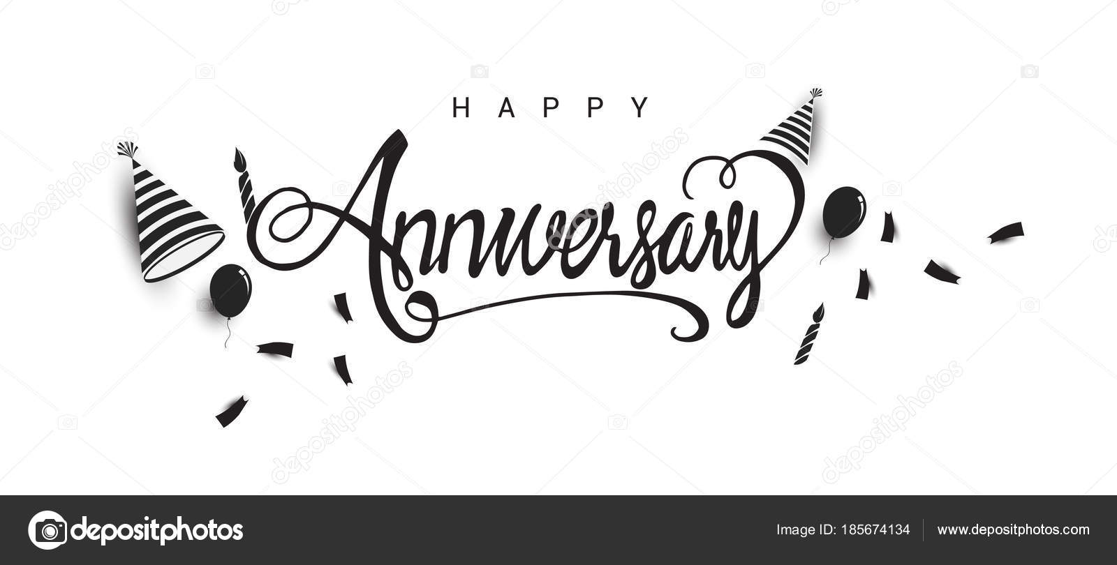 Happy Anniversary Lettering Text Banner Holiday Balloons