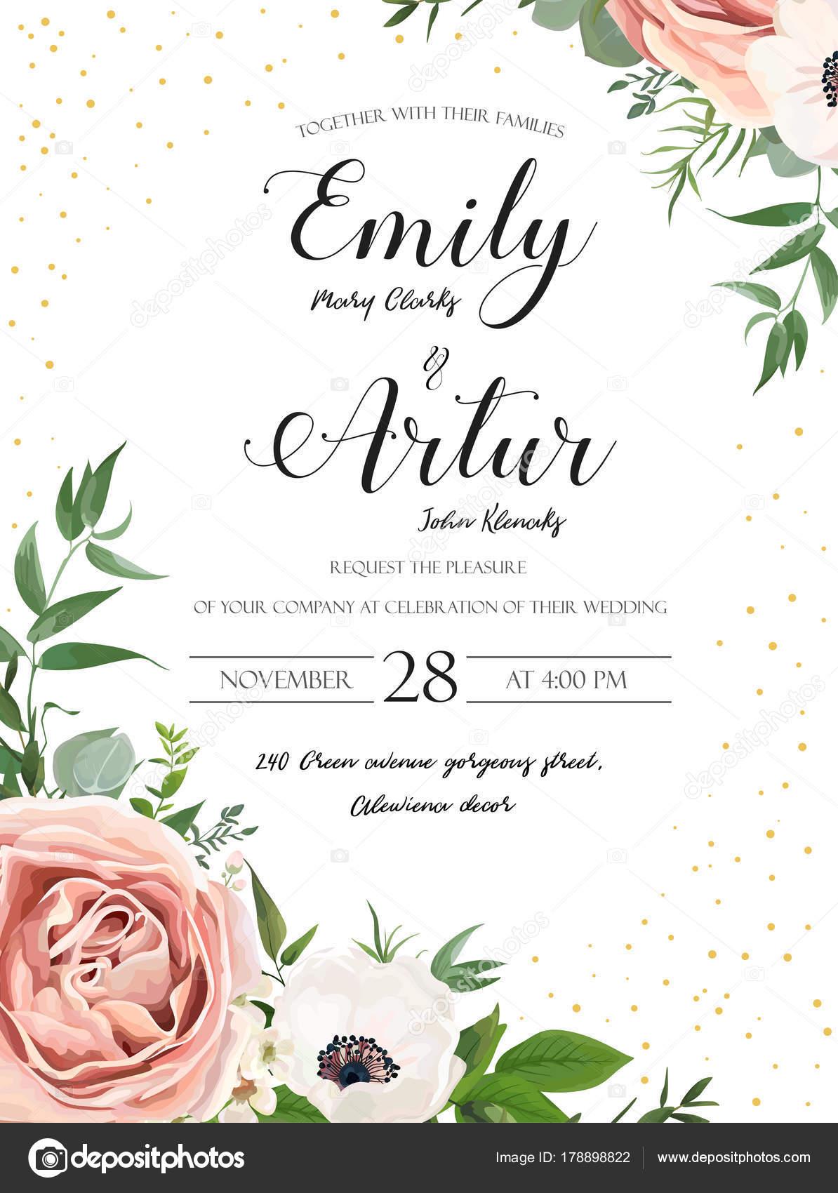 Hochzeit Blumen Einladung Einladung Kartendesign Rosa