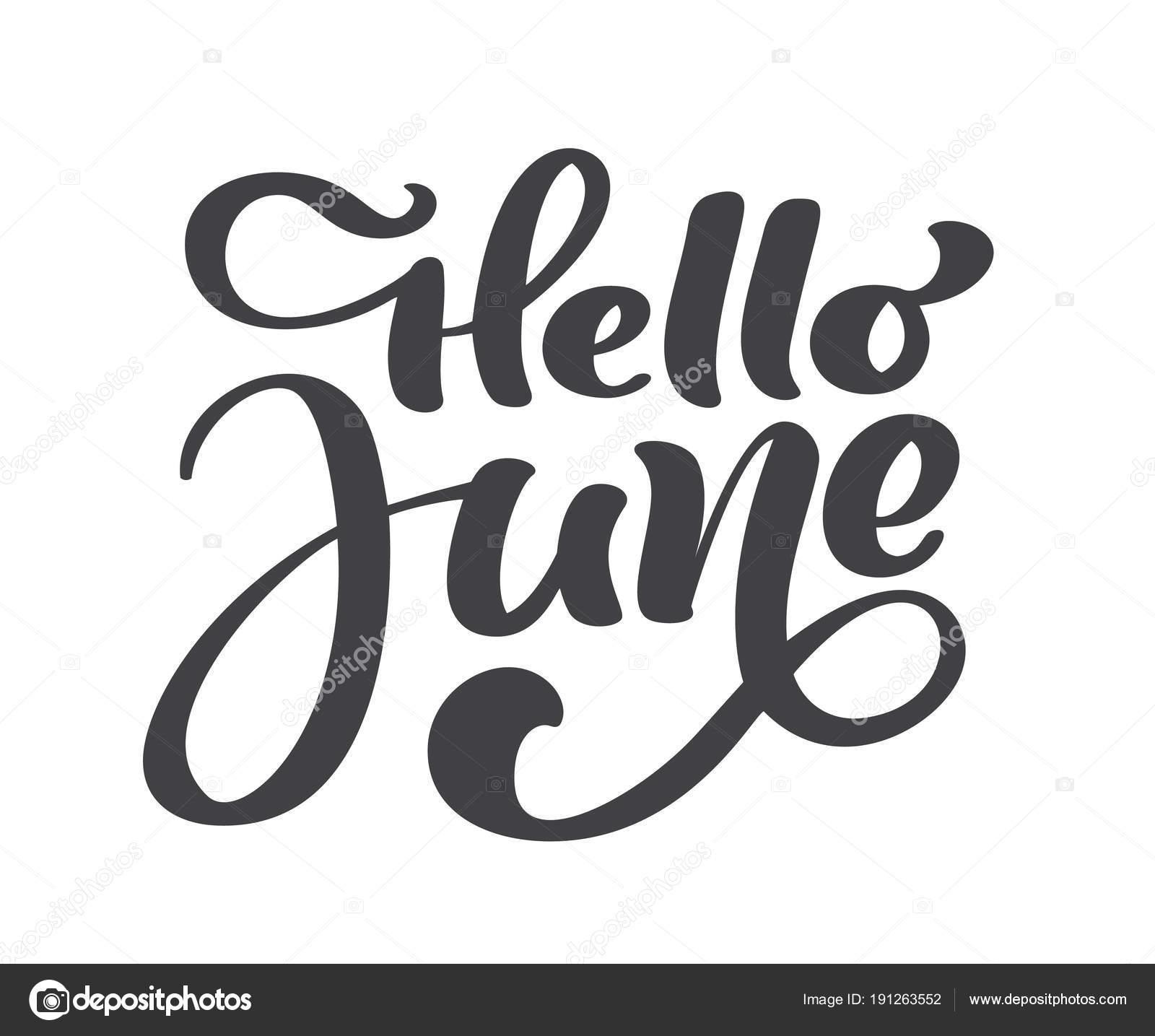 Hola Texto De Junio Letras Imprimir Vector Ilustracion