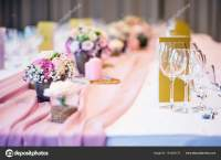 Wedding table setting. Beautiful table set with flowers ...